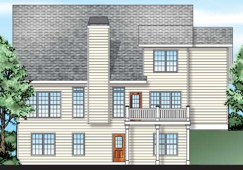 Willowbrook House Plan Rear Elevation