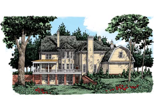 Brookshire Manor House Plan Rear Elevation