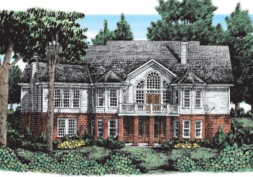Laurel River House Plan Rear Elevation