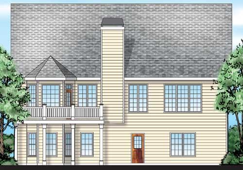 Timberlake House Plan Rear Elevation