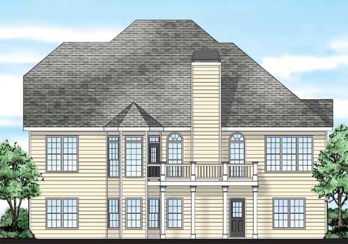 Colonnade House Plan Rear Elevation