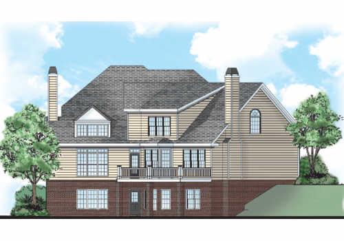 Belmeade Manor House Plan Rear Elevation