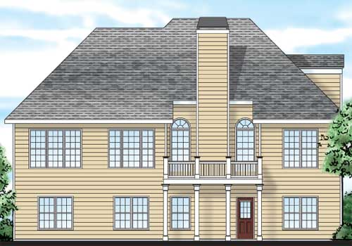 Lake Forest House Plan Rear Elevation