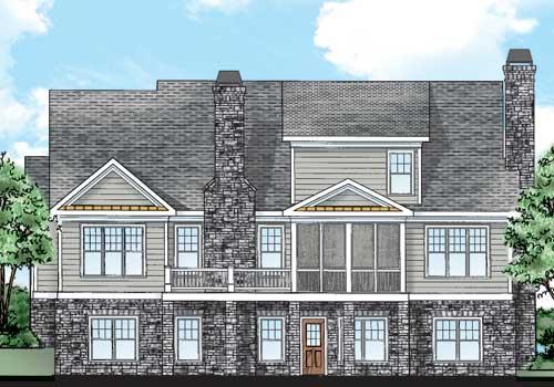 Atherton House Plan Rear Elevation