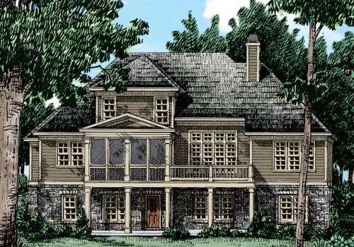 Colemans Bluff House Plan Rear Elevation