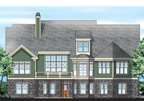 Walden Pond House Plan Rear Elevation