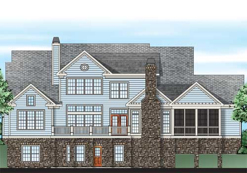 Manhasset House Plan Rear Elevation