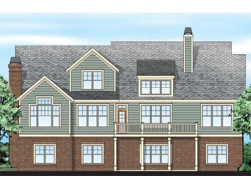 Pepperdine House Plan Rear Elevation