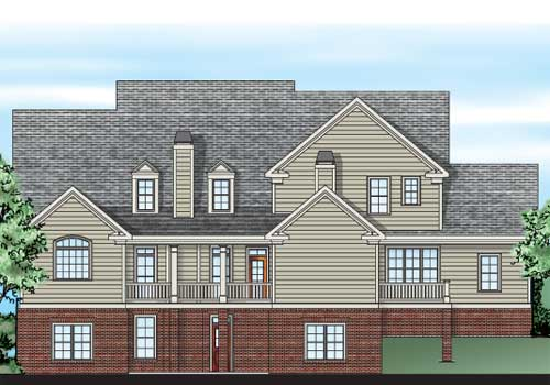 Hazelwood Square House Plan Rear Elevation