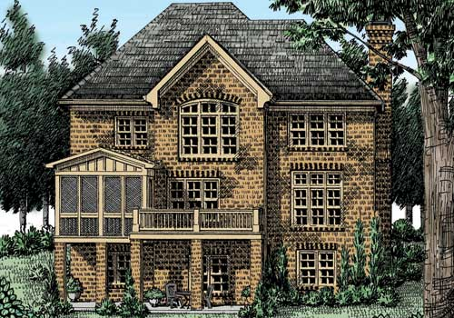 Ansley Cottage House Plan Rear Elevation