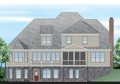 Southerland Place House Plan Rear Elevation