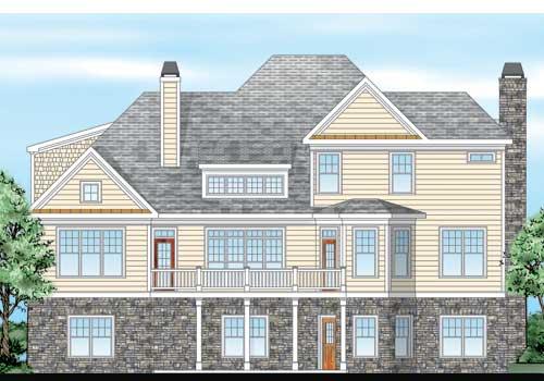 Waterstone Place House Plan Rear Elevation