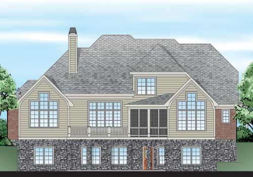 Willingham Manor House Plan Rear Elevation