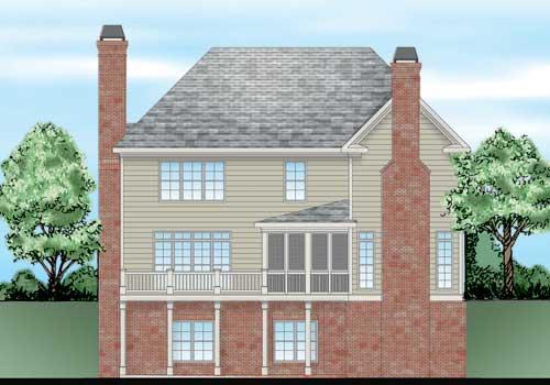 Saddleridge House Plan Rear Elevation