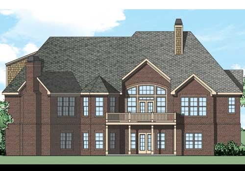 River Gate House Plan Rear Elevation