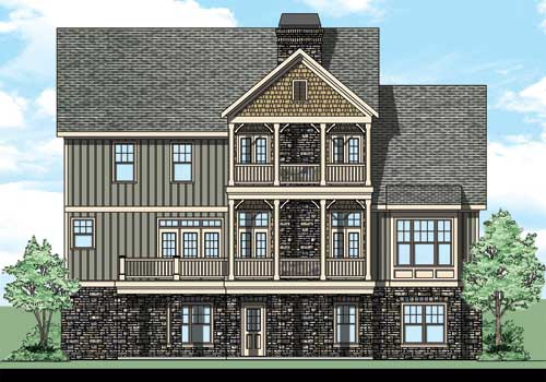 Wellstone Place House Plan Rear Elevation