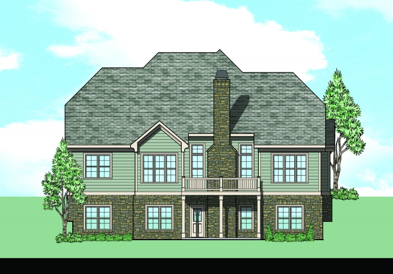 Shoal Creek (a) House Plan Rear Elevation